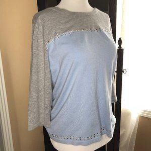 Laura Petites   Grey / Blue Sweater Top (size M)